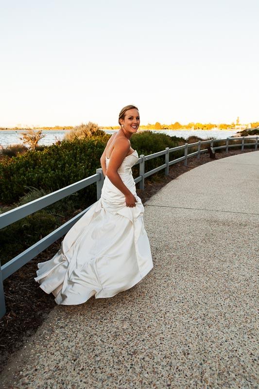 perth wedding photographer south perth wedding image of bride walking away