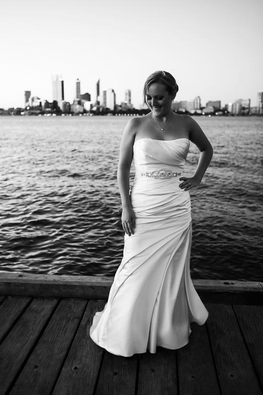 perth wedding photographer south perth wedding image of bride on jetty