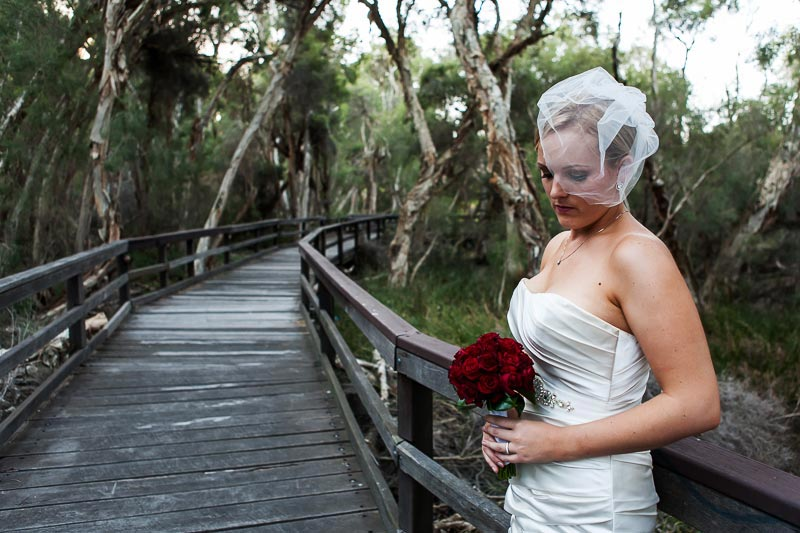 perth wedding photographer south perth wedding image of bride on board walk