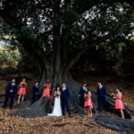 wedding photographer perth matilda bay wedding image of bridal party under tree