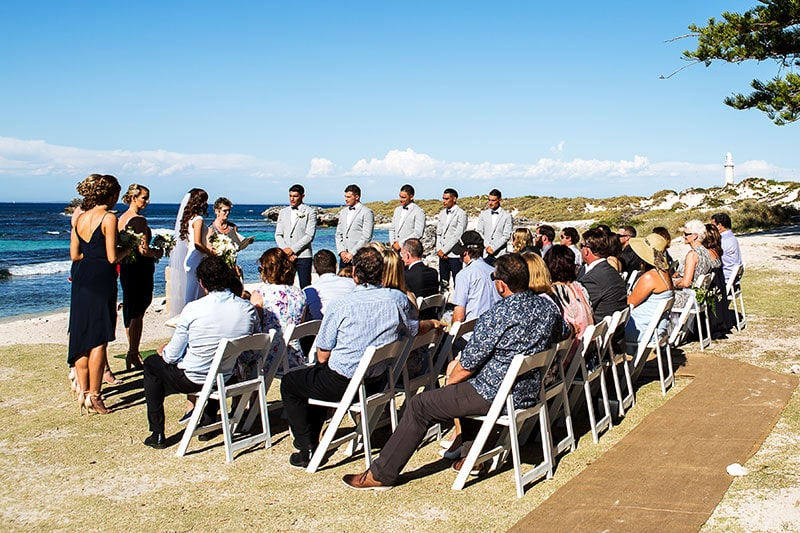 perth wedding photographer rottnest island wedding image of ceremony at the basin