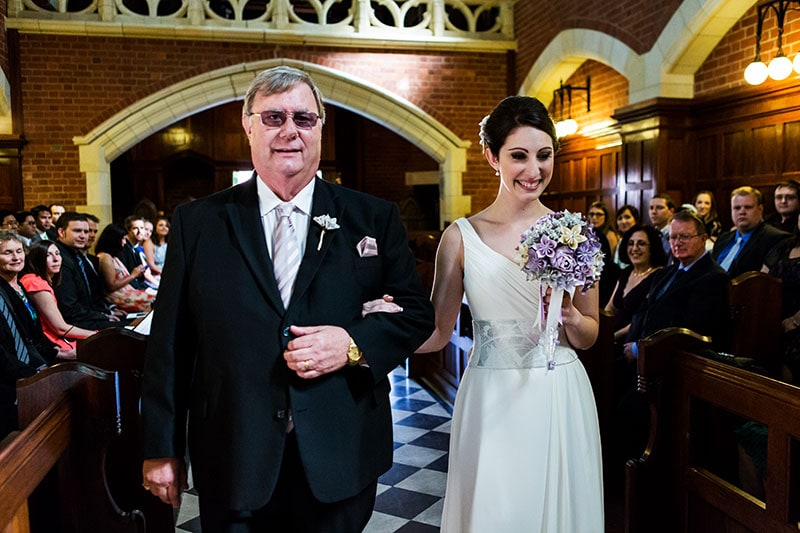 perth wedding photographer perth wedding image of father and daughter walking down the isle
