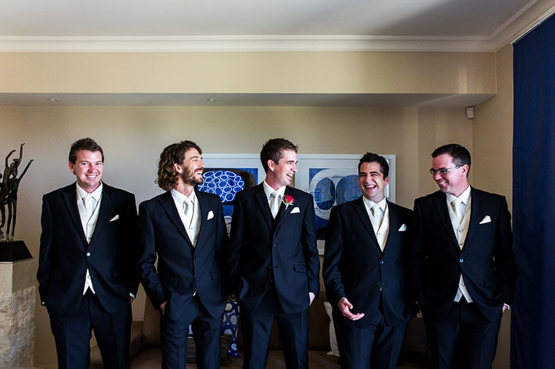 wedding photographer perth kings park wedding image of groom and groomsmen laughing