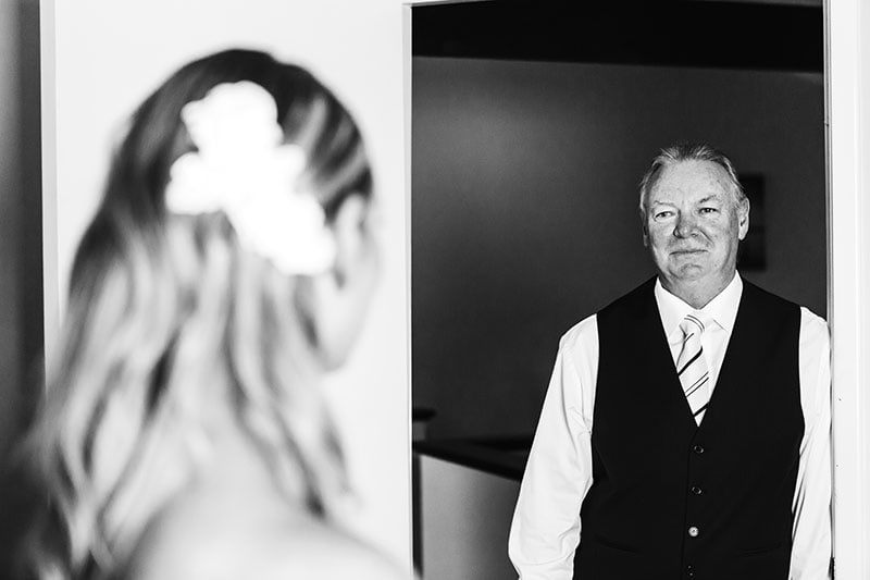 wedding photographer perth kings park wedding image of father seeing daughter in wedding dress for first time