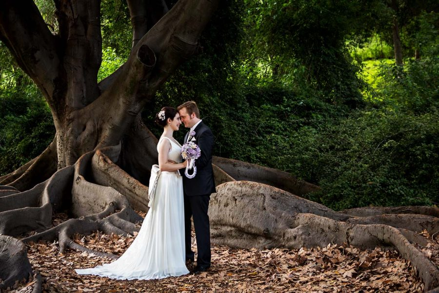 wedding photography perth image of bride and groom under tree