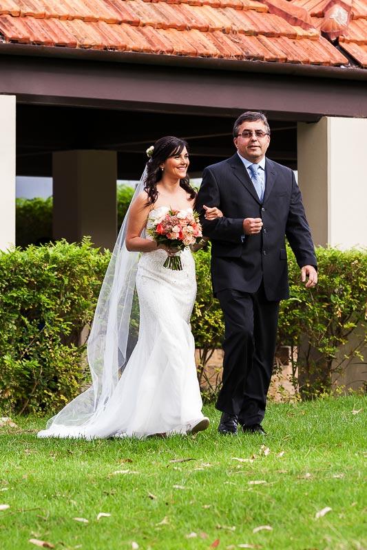 wedding photographer perth matilda bay wedding image of father and bride walking down isle