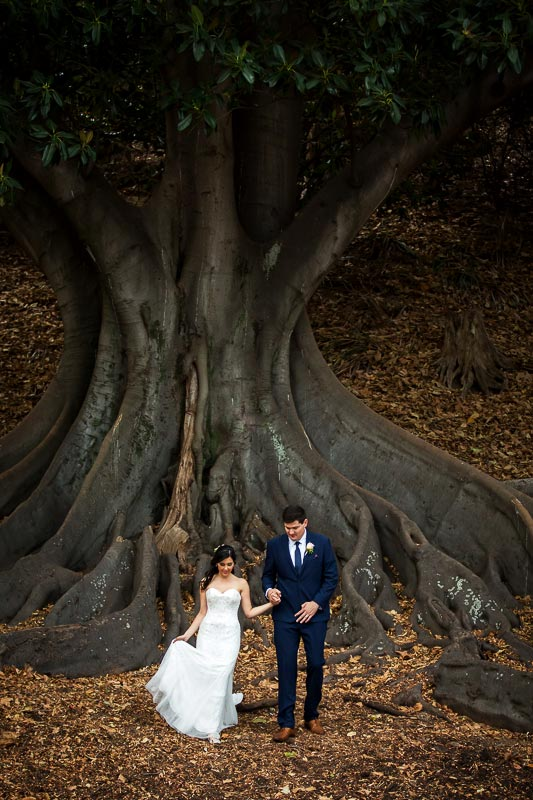 wedding photographer perth matilda bay wedding image of bride and groom walking away from tree