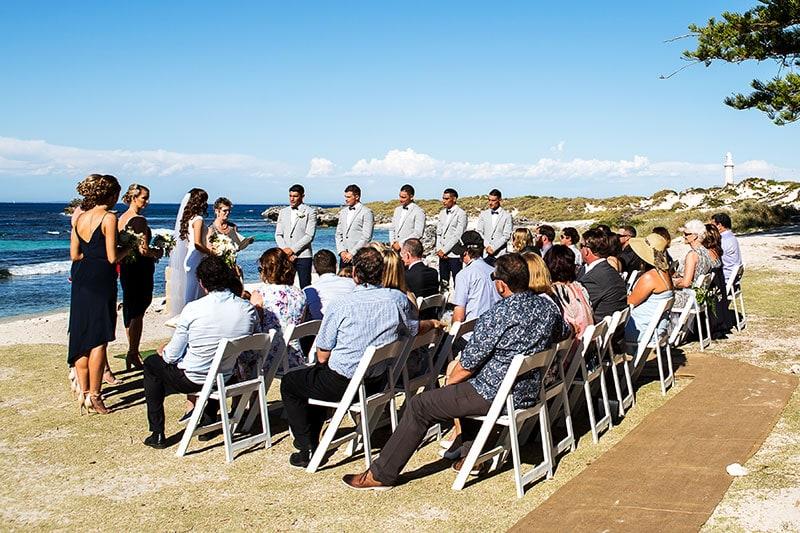 perth wedding photographer rottnest island wedding image of ceremony at the basin