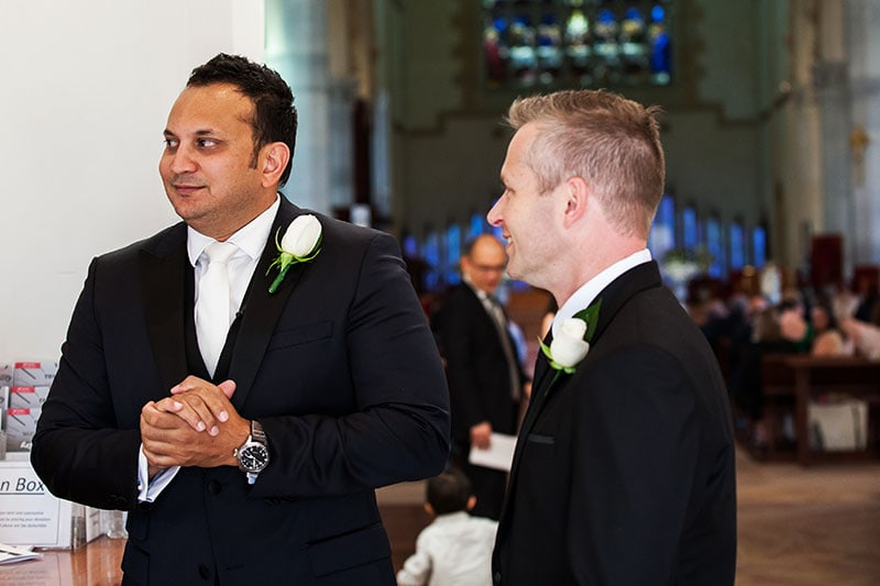 perth wedding photography perth city wedding image of groom waiting for bride at church