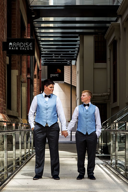 perth wedding planning wedding photo locations perth image of two brides holding hands at brookfield place perth
