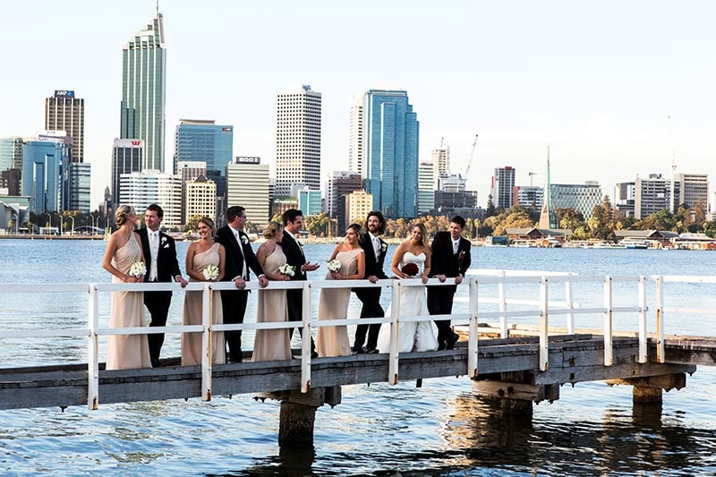 wedding photographer perth kings park wedding image of bridal party on jetty