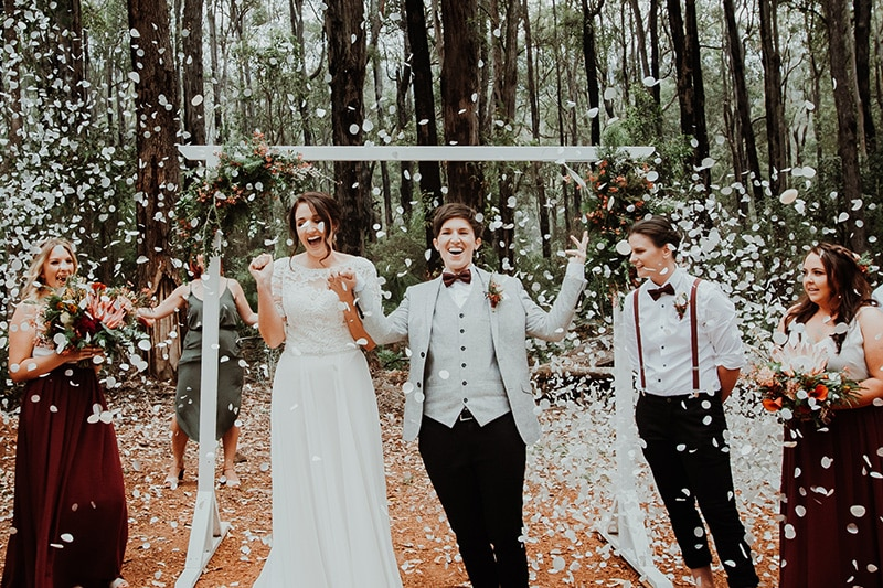 best forest wedding venues perth south west wa nanga bush camp wedding dwellingup currawong image of same sex forest wedding at nanga bush camp in dwellingup