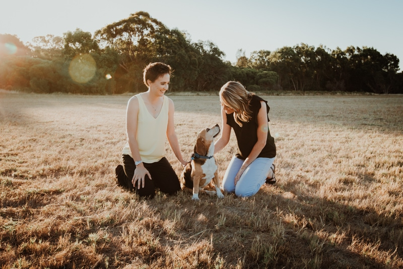 perth engagement photographer lgbtqi wedding photographer perth yellagonga regional park dog engagement photos image of perth same sex engagement shoot