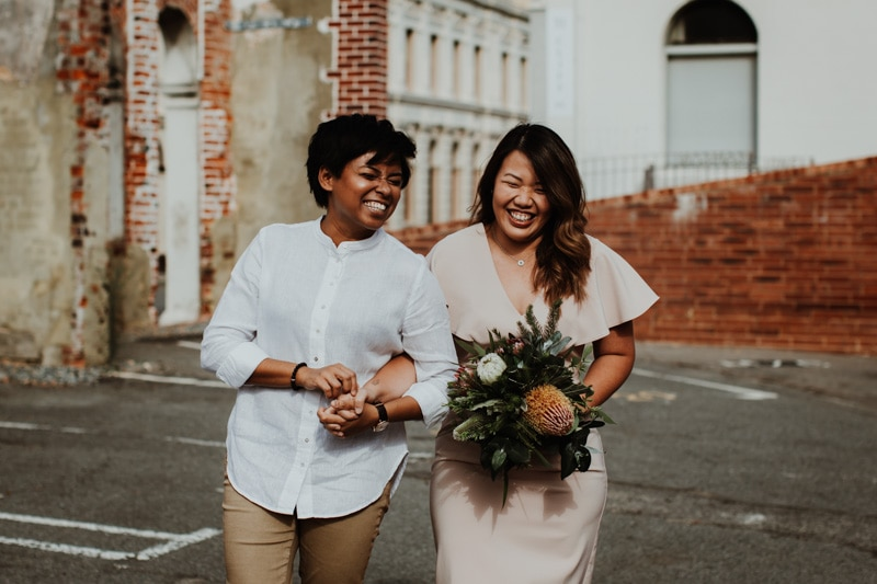 two brides at elopement in perth